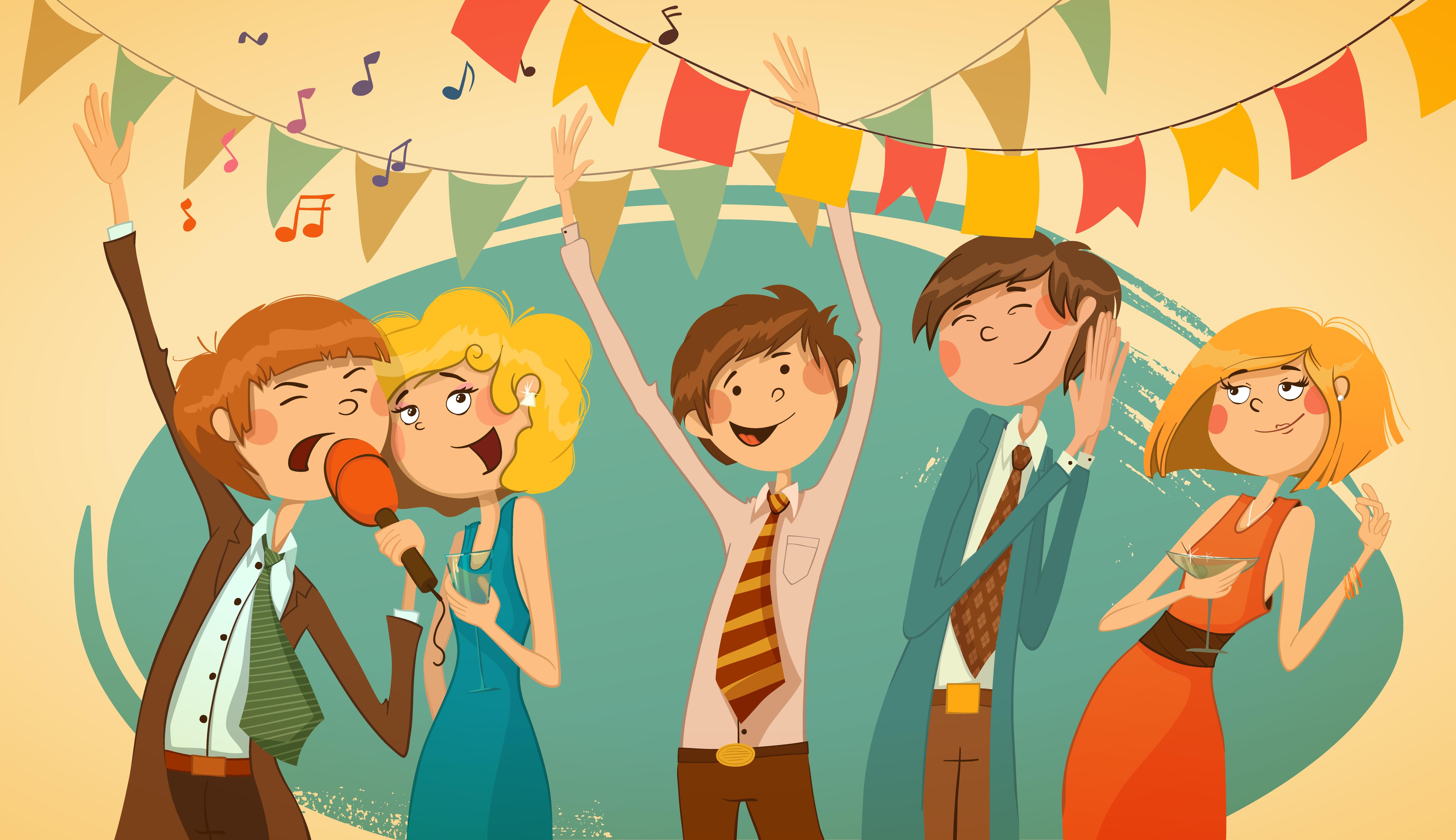 Картинки с вечеринкой прикольные рисованные, новогодняя